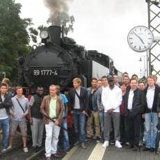 Betriebsausflug mit der Dampflok in der Nähe von Dresden